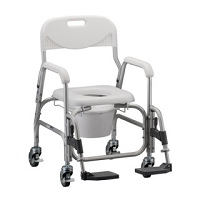 Nova Shower Chair & Commode with Padded Seat & Swingaway Footrest, #8801